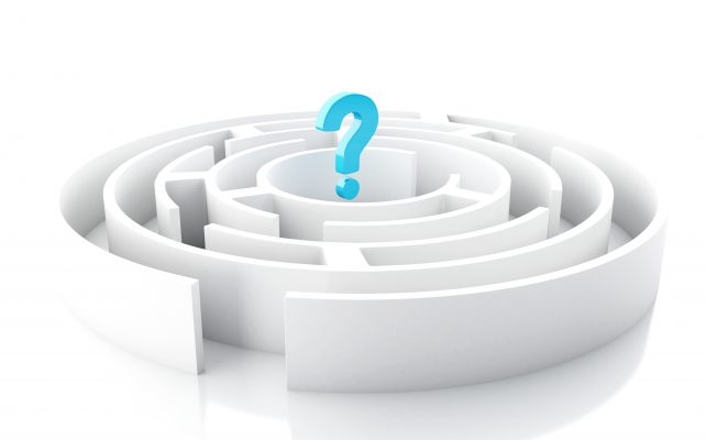 3d illustration. Question mark in Circular Maze. Isolated white background.